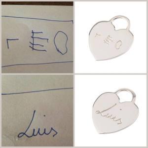 Handgravierter Kinderschrift-Anhänger by Luxusweiberl